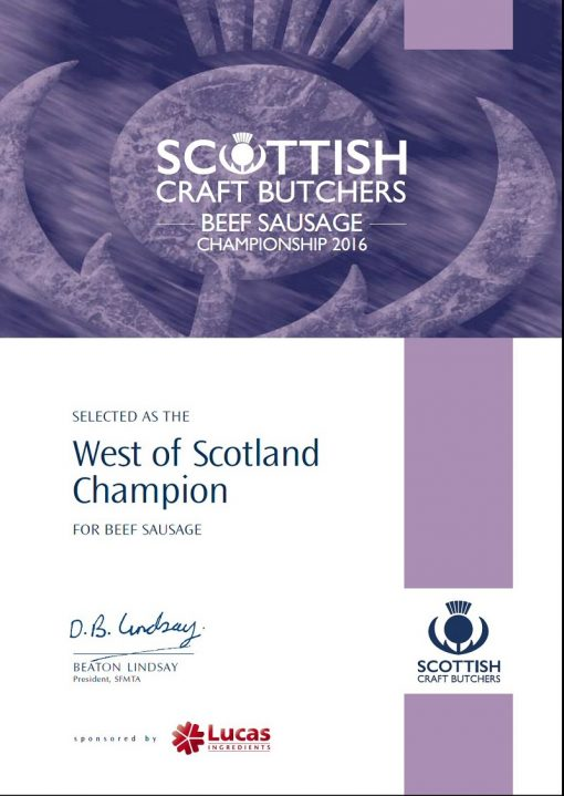 West of Scotland Champion Award Winning Sausage for 2016